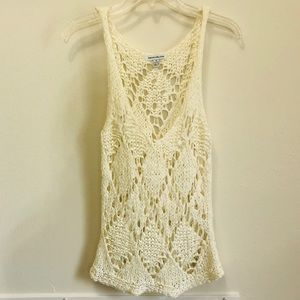 Pepe Open Knit Cream Tank Top In Size XS